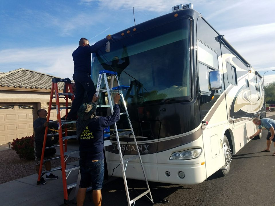 Auto Glass Factory Replacing Windshiled on a RV